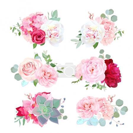 Petits bouquets de mariage de pivoine, hortensia, camélia, rose, succ