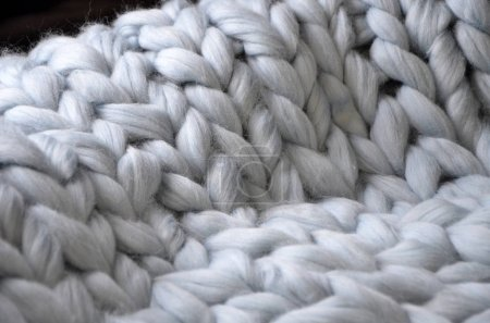 Merino wool handmade knitted large blanket, super ...