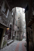 Dolceacqua (IM), Italy - December 19, 2017: View of old houses in the inside of Dolceacqua village, Imperia, Liguria, Italy