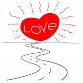 Sun love road vector image