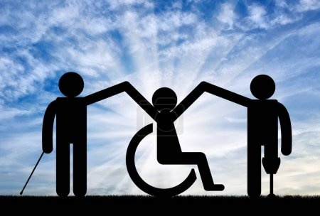 Icon persons with disabilities in community to hold hands