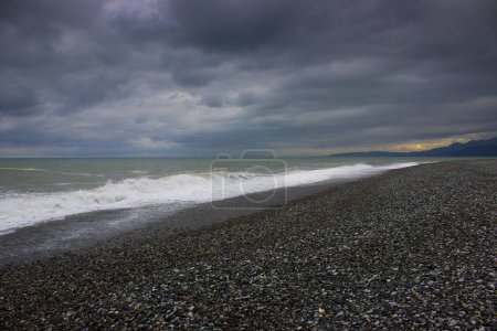Photo for Dark sunset over the Black Sea in Batumi, Georgia - Royalty Free Image