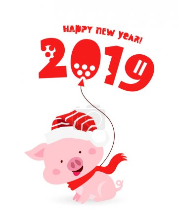 Fun pig in a red Christmas hat with a balloon