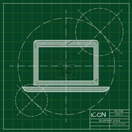 Blueprint of laptop icon
