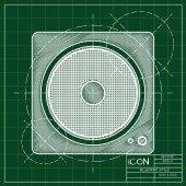 Blueprint of music icon