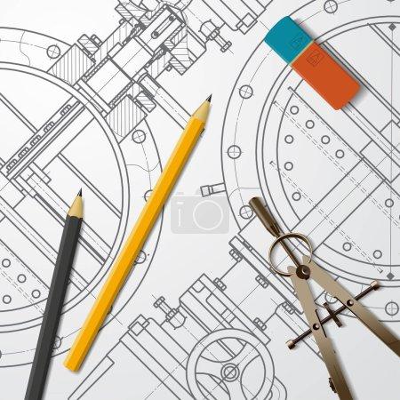 technical blueprint of mechanism.