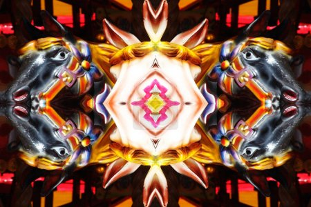 Abstract mirror reflection of carousel horses background