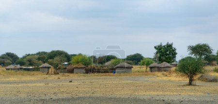 Small Maasai village in the savannah of Northern T...