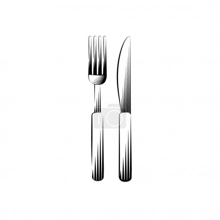 Cutlery, fork and knife. Isolated icon on a white ...