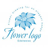 Edelweiss is a logo template a flower for an elegant corporate identity with symbol of an open edelweiss flower a water lily a lotus or other abstract floret