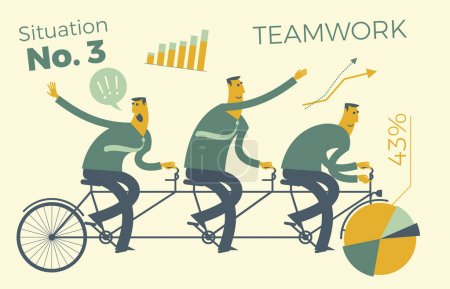Illustration for Business infographics, business situations. Teamwork, workers go to the goal in a single way.  Achievement of goal, career, profession. Vector illustration of flat design. Project, contract, diagram, and graphic elements. - Royalty Free Image