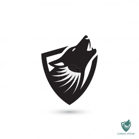 Illustration pour Loup simple icône de bouclier, illustration vectorielle - image libre de droit