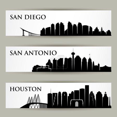 Photo pour Villes skylines ensemble, illustration vectorielle - image libre de droit