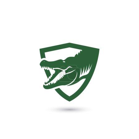 crocodile simple shield icon