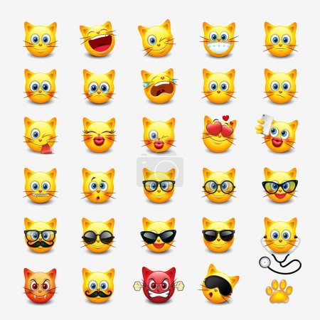 Illustration for Set of cute cats emoticons, vector illustration - Royalty Free Image