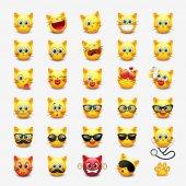 Set of cute cats emoticons vector illustration