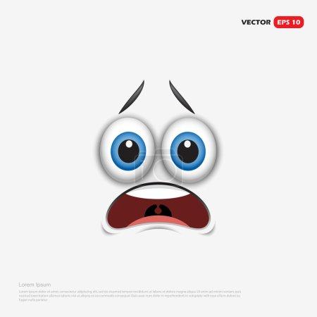 Illustration for Frightened emoticon, emoji, smiley - vector illustration - Royalty Free Image
