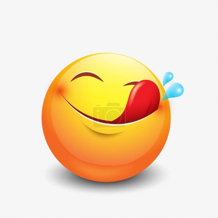 Cute hungry emoticon, emoji, smiley - vector illus...