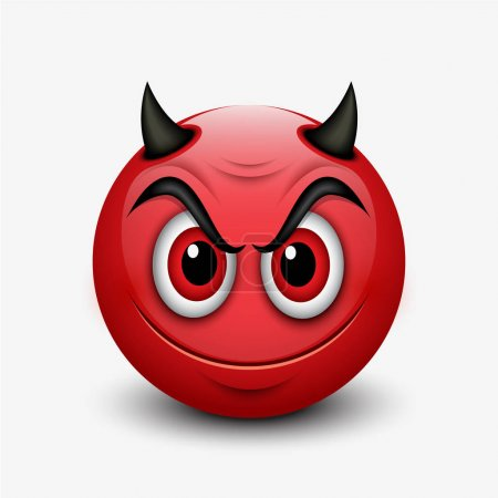 Illustration for Cute emoticons, emoji - devil smiley - vector illustration - Royalty Free Image