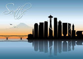 Colorful Seattle skyline silhouette