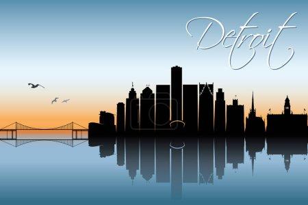 design of Detroit skyline