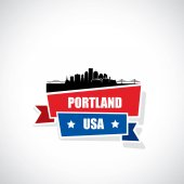 Portland city skyline vector illustration