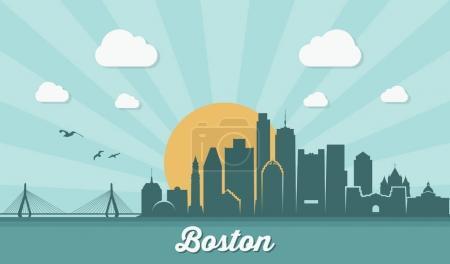 Photo for Boston city skyline, vector illustration - Royalty Free Image