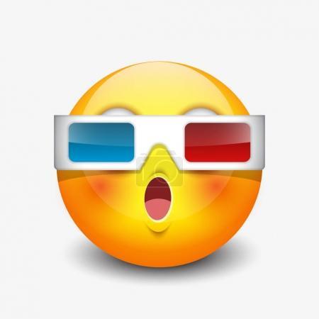 Cute emoticon wearing 3d eyeglasses