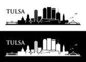 Tulsa city skyline Black and white Horizontal Vector illustration