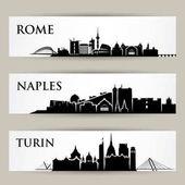 italian cities skyline set