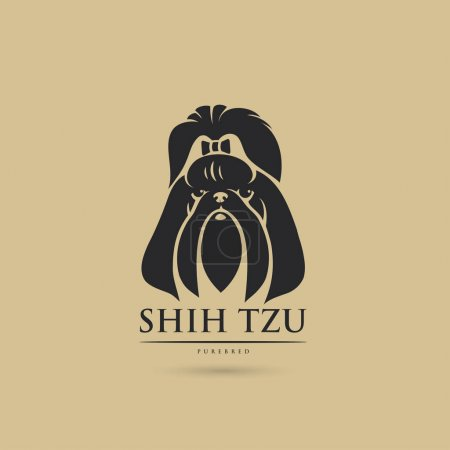 Illustration for Vector illustration design of black shih tzu dog on background - Royalty Free Image