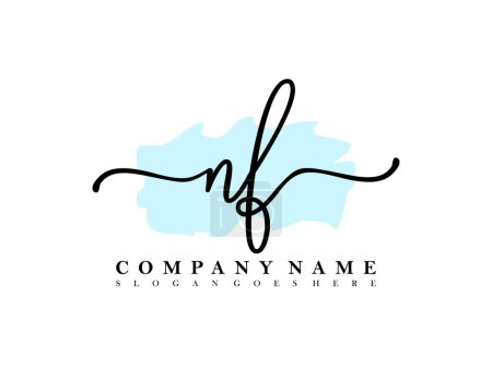 Initial NF handwriting logo of initial signature, make up, wedding, fashion, with brush stroke template