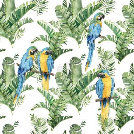 Photo pour Motif avec de beaux perroquets aquarelle et feuilles tropicales. Les tropiques. Feuilles tropicales réalistes. Oiseaux tropicaux. Sur fond blanc - image libre de droit