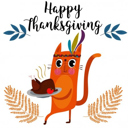Happy Thanksgiving card in cartoon style with cat