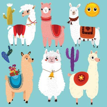 Vector set of cute Llamas.6 cartoon characters.