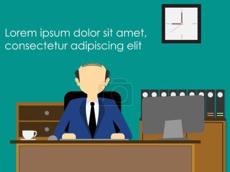 Illustration pour Homme d'affaires assis sur son lieu de travail solennellement. style vectoriel large - image libre de droit