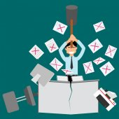 Mistake hard work Angry businessman and Paper scattered Vector flat style