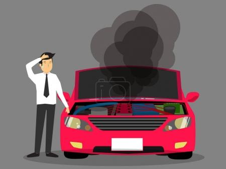 Illustration for Businessman standing near broken car and confused. Vector flat cartoon illustration - Royalty Free Image