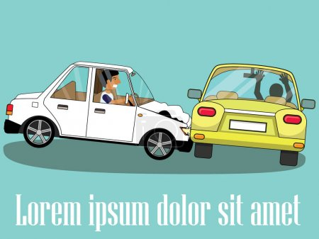 Illustration for Cars involved in a car wreck. Simple flat vector style. - Royalty Free Image