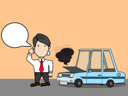 Illustration for Businessman with accident broken car the street. Funny vector style. - Royalty Free Image