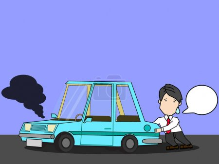 Illustration for Businessman with broken car. Push car on street. Funny vector style. - Royalty Free Image