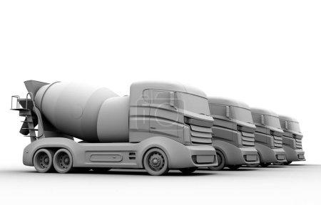 Photo pour Argile de rendu des camions bétonnière sur fond blanc. image de rendu 3D. - image libre de droit