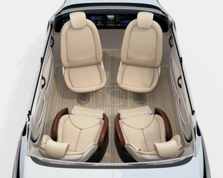Rear view of self-driving car cutaway image