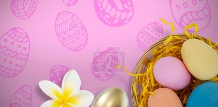 Easter eggs pink background