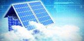 Composizione digitale di 3d pannelli solari