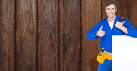 Handyman with bill board and tools