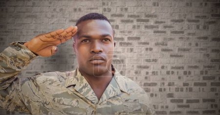 Soldier saluting against brown wall