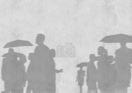 Business people silhouettes against white wall