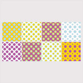 Vector set of colorful dotted patterns against white background