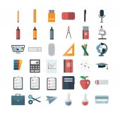 Various vector icon set against white background